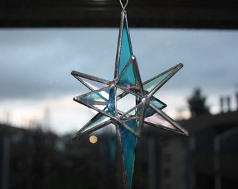 Turquoise and Iridescent Clear Moravian, 12 pointed, Star