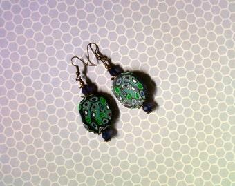Navy Blue, Denim, Emerald Green and White Earrings (2206)