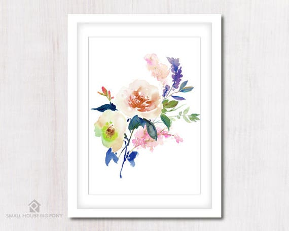 Watercolour Digital Wall Art , Home Wall Decor, Rose Watercolor Painting- Hand Painted- Rose Bouquet Wall Art Printables
