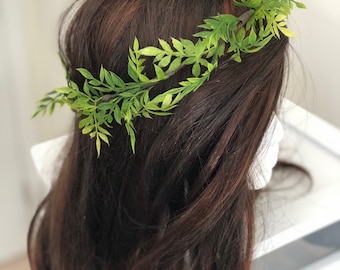 Thin Greenery Crown, eucalyptus crown, olive leaf crown, green halo, thin green crown, flower crown, boho flower crown, natural crown