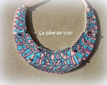 Bib necklace pink blue purple black handmade polymer clay