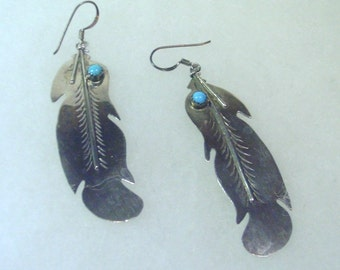 Vintage  Silver and Turquoise Extra Large Feather  Earrings  - 1980's