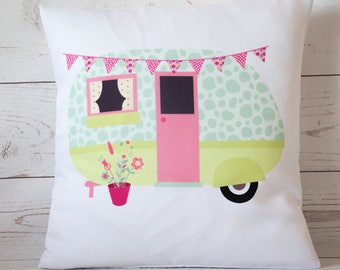 "Vintage Caravan-duckegg/lime - 16"" Cushion Pillow Cover Retro Shabby Vintage Chic - UK Handmade"