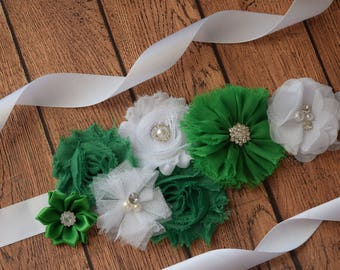 Green white Sash ,#2, flower Belt, maternity sash, wedding sash, flower girl sash, maternity sash belt