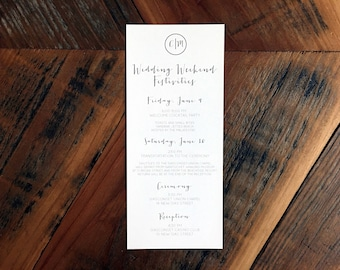 Wedding Itinerary Cards, Itinerary Cards, Wedding detail Cards