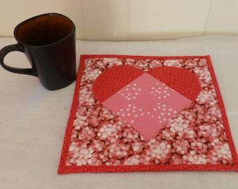 Quilted Mat, Mug Rug, , Valentine Gift,  Mini-Quilt, Coaster Fast Shipping