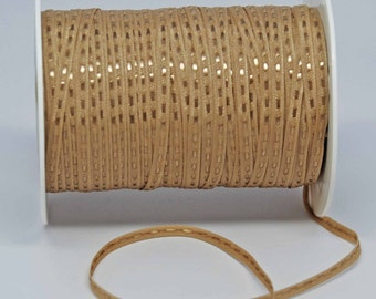 Solid Stitched Center Ribbon -- 1/8 inch -- Creamy Caramel
