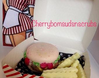 Burger and fries soap handmade