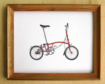 """Red Brompton Folding Bicycle - 9""""x12"""" Limited Edition Archival Print"""
