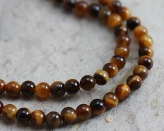 Tiger Eye Beads Round 2mm  - Half Strand