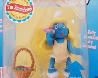 The Smurfs, Vintage Smurf Figurines, Rare Smurfs Collectibles, Smurf Village Smurfette moveable arm action toy, Mother's day Gifts NIB