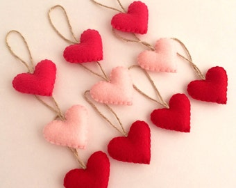 10 Felt Heart Valentine's Ornaments Red, Hot Pink, Baby Pink Eco-Friendly Recycled Felt