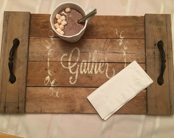 Hand crafted wooden serving tray