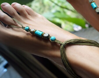 Turquoise Barefoot Sandals, Green Tone Barefoot Sandals, Boho Barefoot Sandals, Gemstone Anklets, Foot Jewelry, 1 Pair