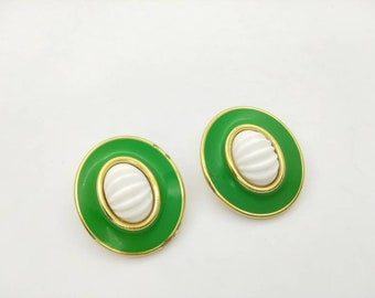 Monet Green and White Abstract  Clip earrings Art Deco Gold  tone  Mint condition