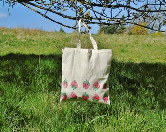 Strawberry Tote Bag - 100% Recycled Cotton - Hand printed - Fruit tote - Gardening Gift