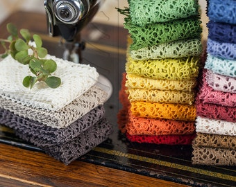 Natural Linen Lace Trim High Quality  50 mm / 1 m = 1.09 yd = 3.28 ft / 24 colours available
