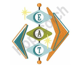 Eat Sign - Machine Embroidery Design - 5 X 7 Hoop, Retro Sign, Restaurant Sign
