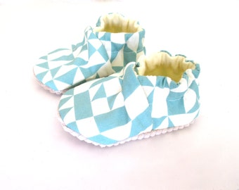 Eco Friendly Baby Organic Shoes Gemetric Blue Soft Sole Baby Shoes