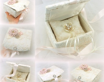 Wedding Ring Box in Blush Ivory and Gold with Lace and Pearls Vintage Elegant Style