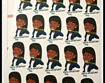 20 African American Woman Dental Appointment Time Planner Stickers