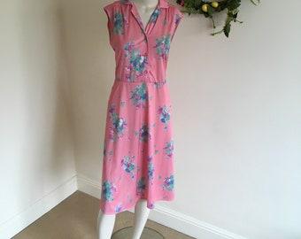Vintage Pink Floral 'Justine' Summer Midi Dress