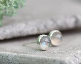 Minimalistic stud earrings with faceted labradorite, sterling silver, 5mm studs