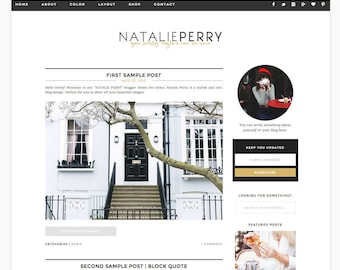 "Wordpress Theme Responsive Blog Design ""Natalie Perry"" - Clean simple feminine"