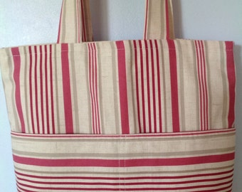 Red and Linen Colour Stripe Tote, Shopping, Beach Bag, Clarke and Clarke Belle Raspberry, Calico Lining