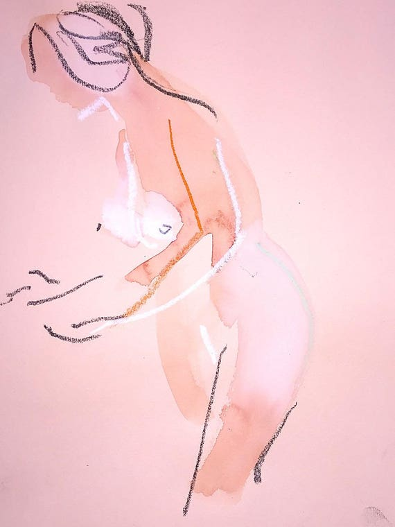 Nude painting of One minute pose 107.7 Original painting by Gretchen Kelly
