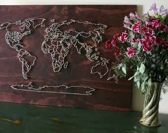 String art world travel map etsy world map string art all countries us states travel art wanderlust gumiabroncs Image collections
