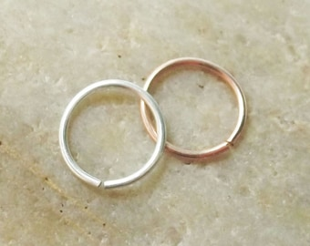 Set of Two 18 Gauge Nose Rings, 14K Rose Gold Filled, Argentium Silver, 2 Nose Hoops, Cartilage Hoop Earring, 7mm 8mm 9mm 10mm 11mm 12mm