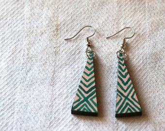 Triangle Hand Painted Wooden Earrings - Pink and Teal - Geometric - Illusion - X Design