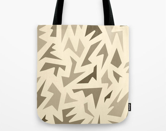 Brown Abstract Tote Bag - Book Bag - Grocery Bag - Beach Bag - Brown ZigZag Tote Bag -  Made to Order