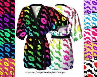 Mustache & Lips, Short Kimono, Trendy, Mustache, Leisure Wear, Bridesmaid, Kimono, Spa, Swimsuit Coverup, Robe, Knit Kimono, Chiffon Kimono,
