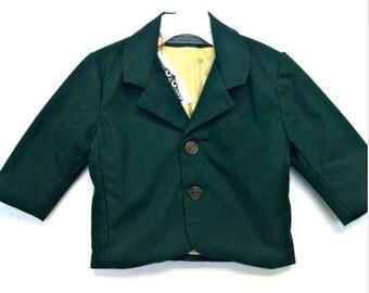 Custom Boys Green Blazer - golf inspired - Green Twill - Made to Order - Golf Birthday Blazer