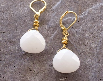 White Jade and Pyrite Dangle Earrings