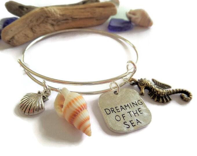Dreaming of the Sea themed silver tone expandable charm bangle bracelet beach gift seaside sea jewellery Uk