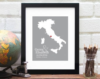 Italy Wedding Gift, Personalized Country Map Art, Belated Gift for Newlyweds, First Anniversary Gift, Engaged in Italy - Art Print