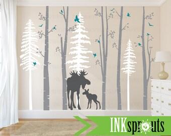 Birch Decal with Moose, 5 Birch decal set with pine trees, birch tree set, Moose baby, Modern Nursery, Nursery decals, Woodland theme
