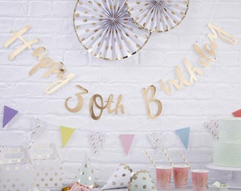 Happy 30th Birthday Bunting, 30th Party Banner, Gold Birthday Decor, Birthday Bunting, 30th Birthday Decor