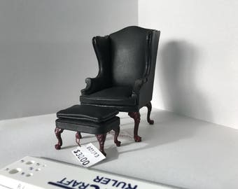 "1"" or 1/12 Scale Miniature Black Bespaq Wingchair and Ottoman"