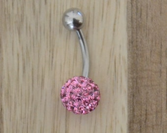 Pink Chunky Multi Gem Ball Belly Button Ring Navel Body Piercing Jewelry