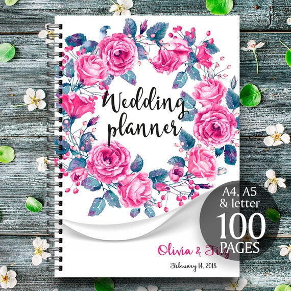 Flower wedding binder, Printable wedding checklist, Wedding organiser, Printable wedding book, Printable to do list, Floral wreath planner