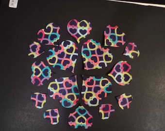Die Cut Appllique Shapes.  Purple Hearts Fabric.  Heart Shapes.  Assorted Sizes.    Fusible (Iron On).