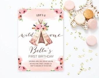 Wild One First Birthday Invitation, Tribal First Birthday Invitation, Boho First Birthday Invitation, Wild One First Birthday Invite
