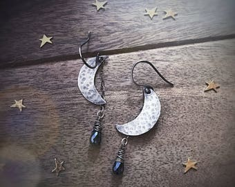 Celestial Jewelry Crescent Moon Earrings with Sparkly Dangle, Moon and Star Gift for Her, Handmade Sterling Silver Earrings, Statement Piece