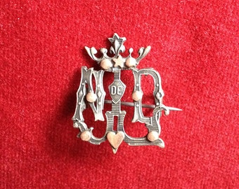 Our lady of Lourdes Antique french religious brooch with a crown