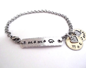 Mama Bear Jewelry, Mama Bear Bracelet, Momma Bear Jewelry, Name Bracelet, Mommy Jewelry, Stainless Steel Bracelet, 1+ discs
