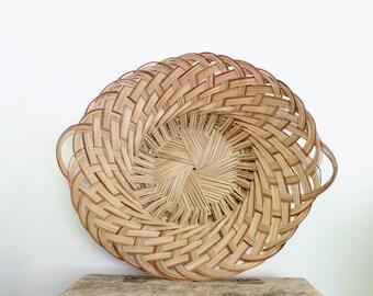 Large Woven Basket with Handles // Vintage Woven Basket Tray // Boho Basket Wall Hanging Art